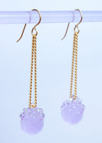Glass Dangle Crystal Ball Earrings - Choose Your Color
