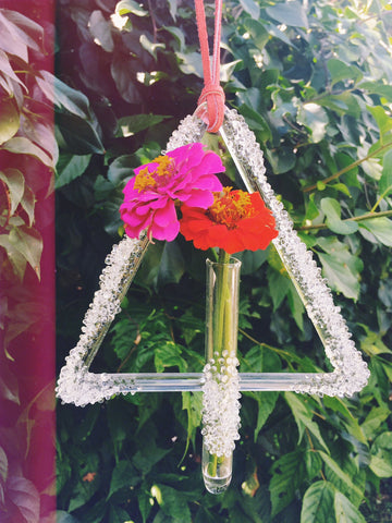 Glass Triangle Wall Hanging & Vase  - One of A Kind