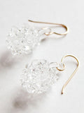 Glass Cluster Ball Earrings - Clear