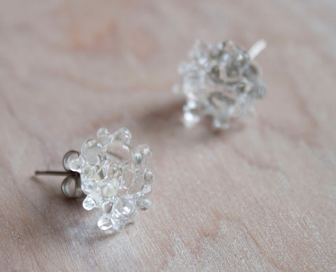 Glass Cluster Dot Earrings - Clear