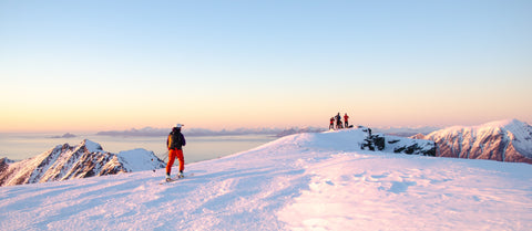 Ski touring at sunrise