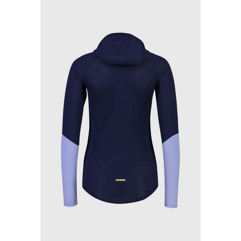Mons Royale Merino Base Layer Top Bella Tech Hood Blue