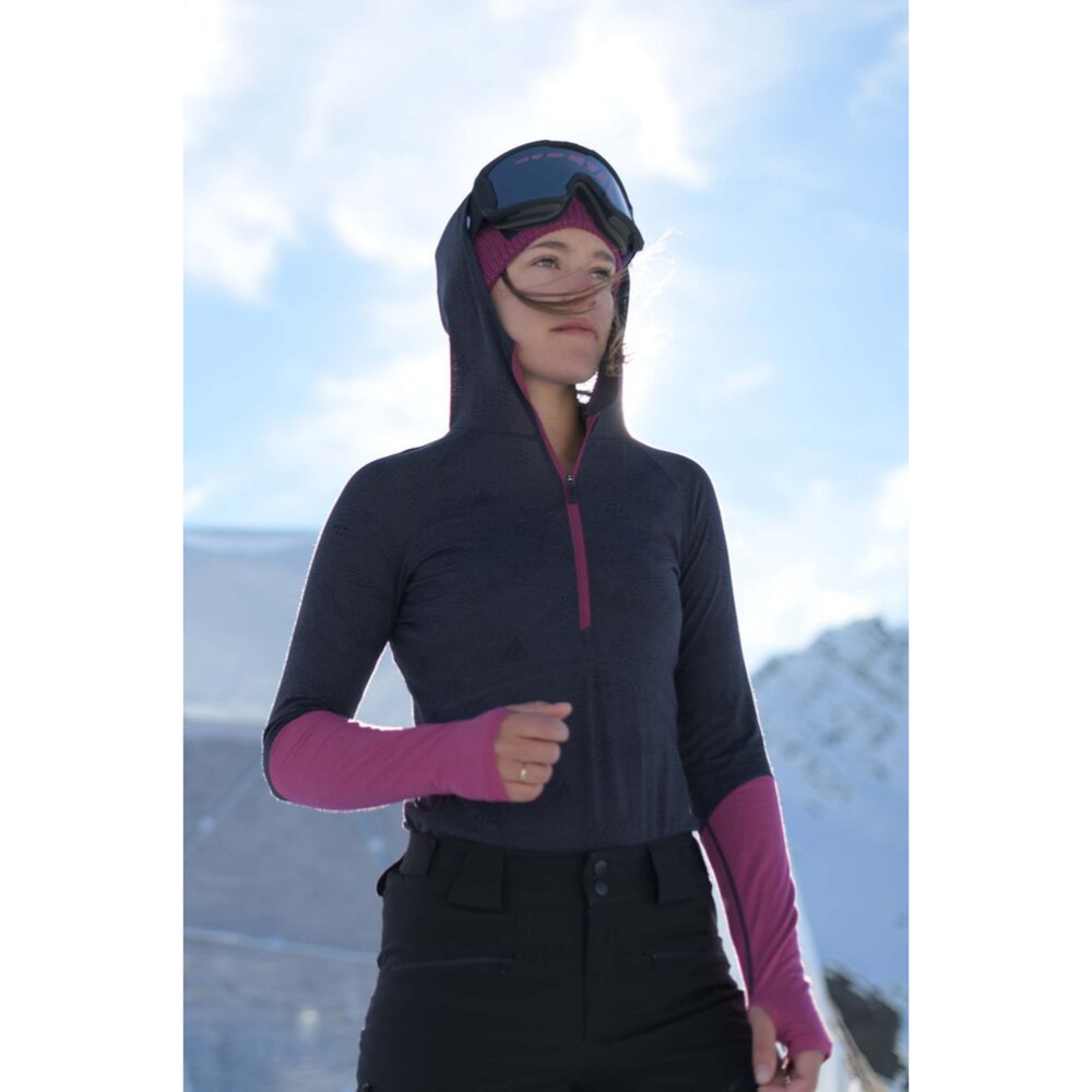 Mons Royale Merino Base Layer Top Bella Tech Hood Navy