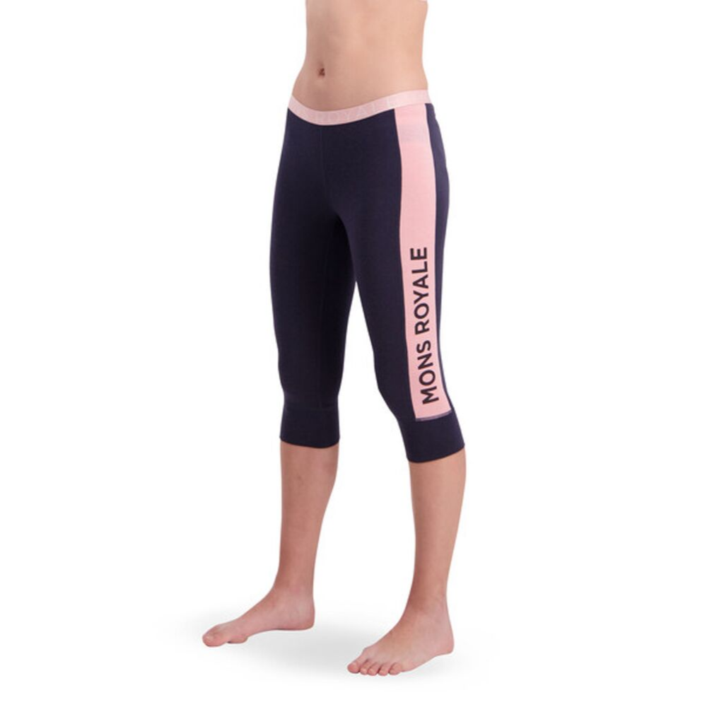 Mons Royale Merino Base Layer Three Quarter Legging Navy