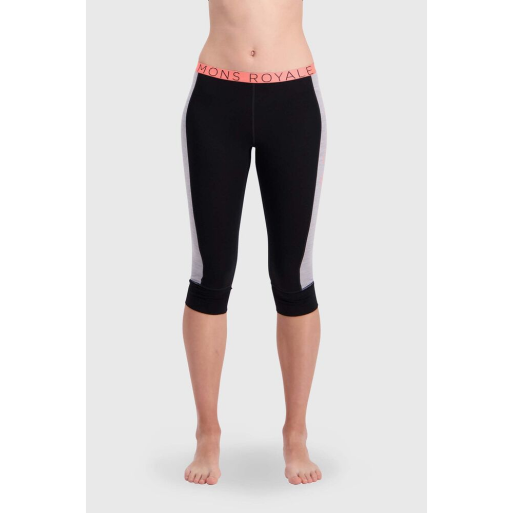 Mons Royale Merino Base Layer Legging Alagna Three Quarter Length Black - Latitude