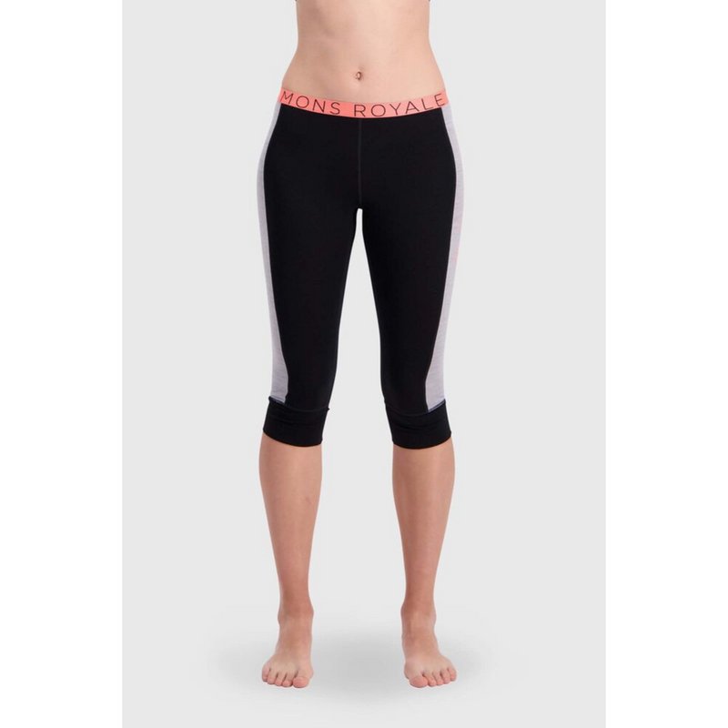 Mons Royale Merino Base Layer Legging Alagna Three Quarter Length Black