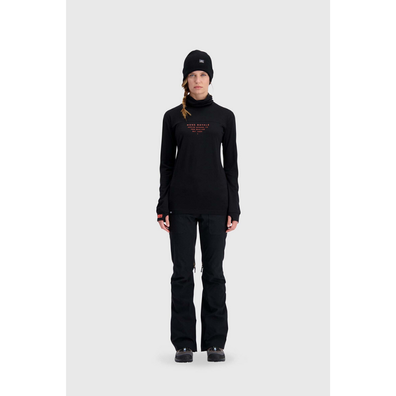 Mons Royale Merino Base Layer Top Yotei High Neck Black
