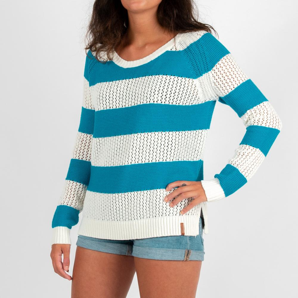 Passenger Clothing Womens Tide Knitted Sweater Surf Blue and White - Latitude