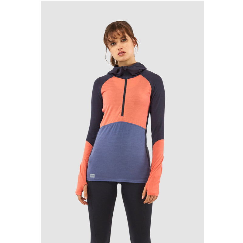 Mons Royale Merino Base Layer Hooded Top Bella Tech Coral