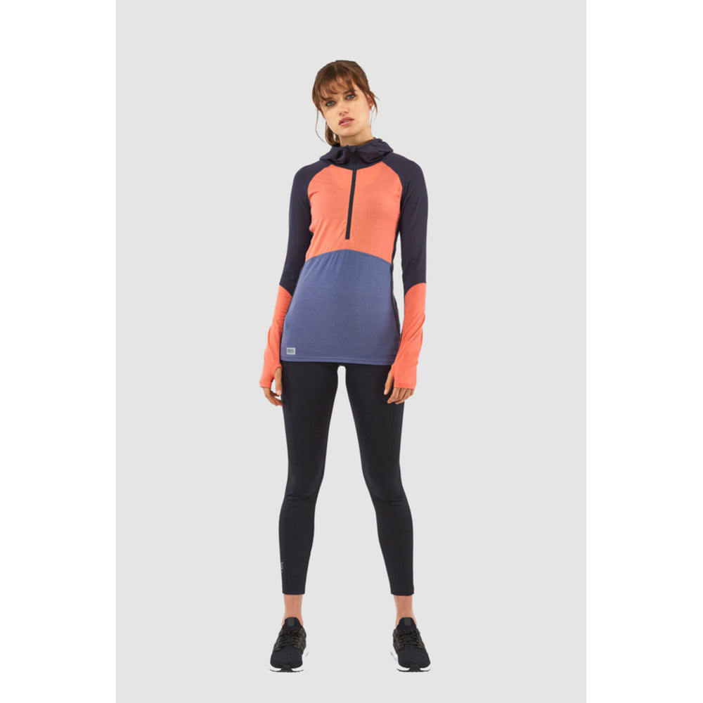 Mons Royale Merino Base Layer Hooded Top Bella Tech Coral - Latitude