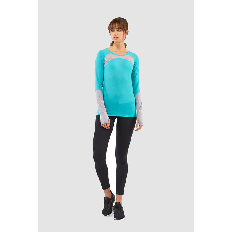 Mons Royale Merino Base Layer Top Bella Tech Turquoise