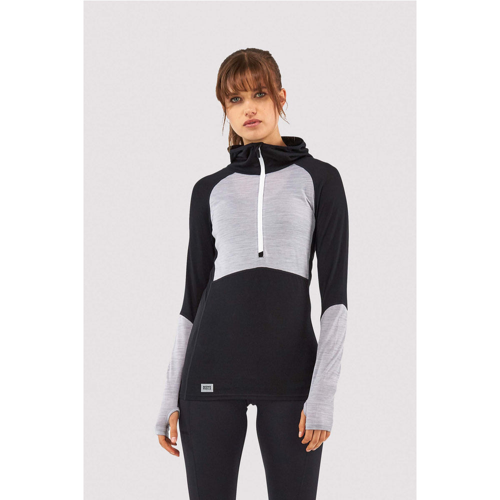 Mons Royale Merino Base Layer Hooded Top Bella Tech Black - Latitude