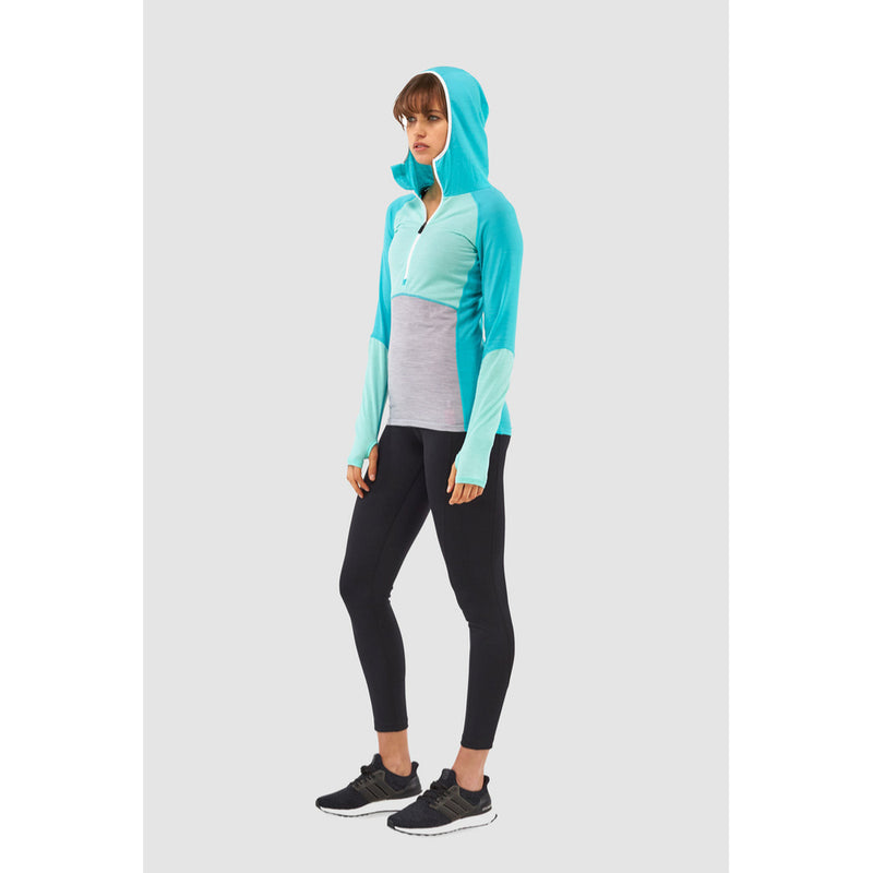 Mons Royale Merino Base Layer Hooded Top Bella Tech Turquoise