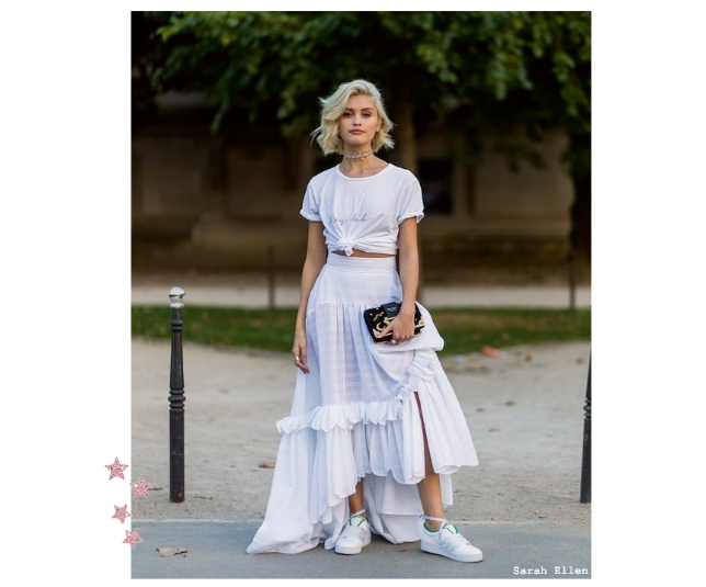 White Top With Maxi Skirt Street Style