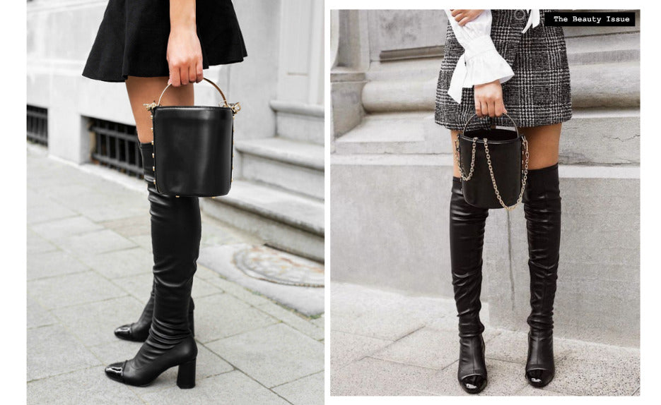Knee high boots and mini skirt