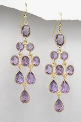 Amethyst Chandelier gold earrings, Amethyst gemstone by Kesley Boutique, Girlwith3jobs meme*