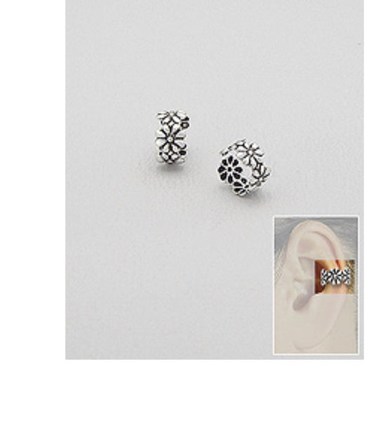 flower ear cuff in sterling silver by Kesley