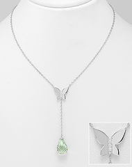 GreenAmethyst Butterfly Necklace, Lariat by Kesley Boutique