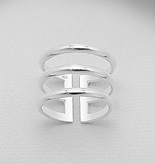 Sterling silver layered adjustable ring, stack ring