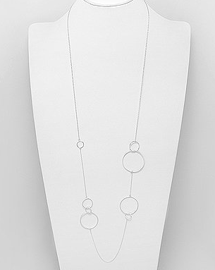 Classic Sterling Silver Long Necklace by Kesley Boutique
