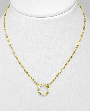Gold Circle Necklace in Sterling Silver, by Kesley