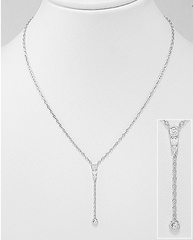 Y Lariat Necklace in Sterling Silver by Kesley Boutique