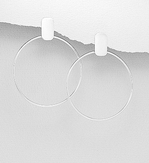 Silver Push back Circle Earrings