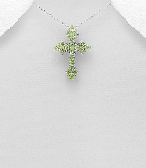 Cross Peridot necklace by Kesley
