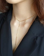 Daily Gold Lariat Necklace