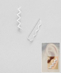 Zig Zag Ear Crawler, ear pins, hipster jewelry, edgy earrings, piercings, blogger style, edgy earrings, street style earrings, influencer jewelry, adjustable earrings, festival fashion, gifts for her, sterling silver earrings, ear crawler*, fashionable earrings, influencer jewelry, trendy jewelry, simple jewelry,  artsy jewelry by KesleyBoutique.com, Girlwith3jobs.com