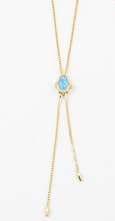 Hamsa opal lariat necklace by Kesley