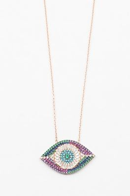 evil eye necklace rose gold chain by Kesley