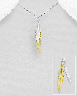 Golden Silver Feather Pendant
