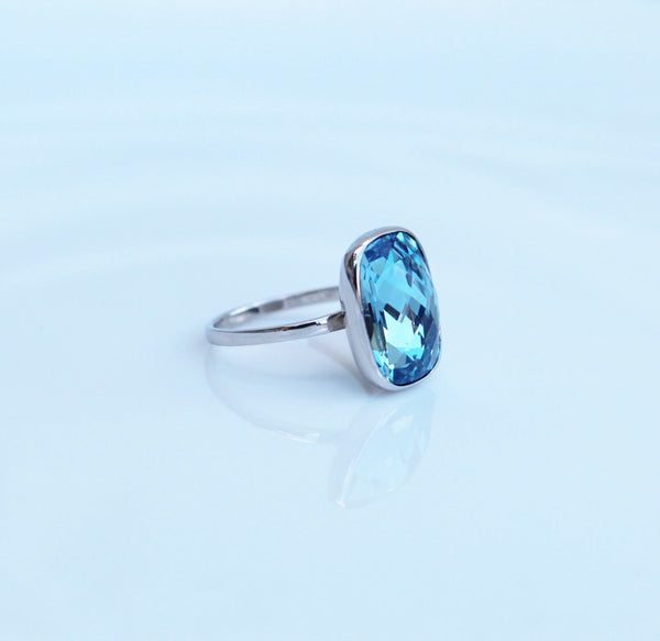 Blue Crystal Ring with Swarovski Verified Crystal in Sterling Silver, Aquamarine Swarovski Ring, Birthstone ring, Blue Cocktail Ring, Gift Ideas, Gifts for her, Jewelry Gifts, Popular Rings, by KesleyBoutique.com, Girlwith3jobs