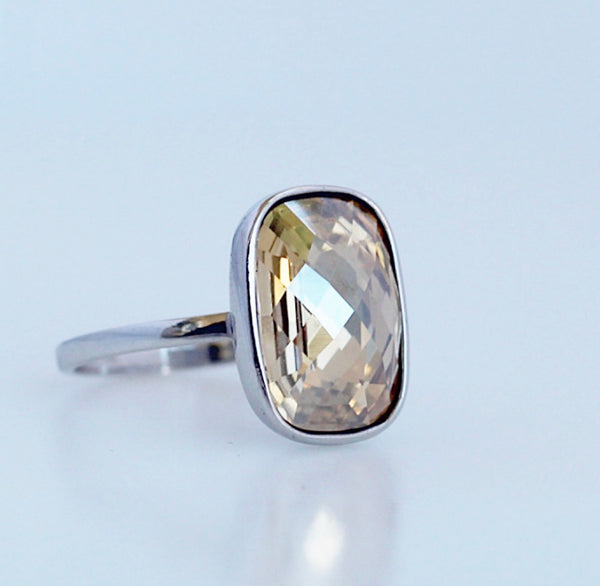 Gold Crystal Ring with Swarovski Verified Crystal in Sterling Silver, Gold Swarovski Ring, Birthstone ring, Gold Cocktail Ring, by KesleyBoutique.com, Girlwith3jobs