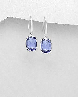 Classic Swarovski Earrings in blue by Kesley