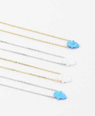 Hamsa/Fatima hand opal necklace in gold or silver by Kesley