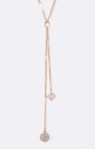 Y drop Star rose gold necklace