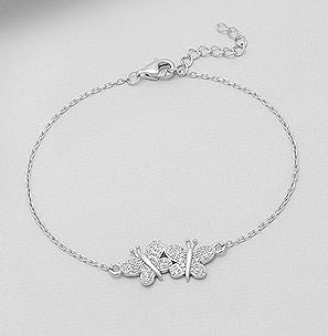 two Butterfly bracelet in sterling silver by Kesley, Girlwith3jobs