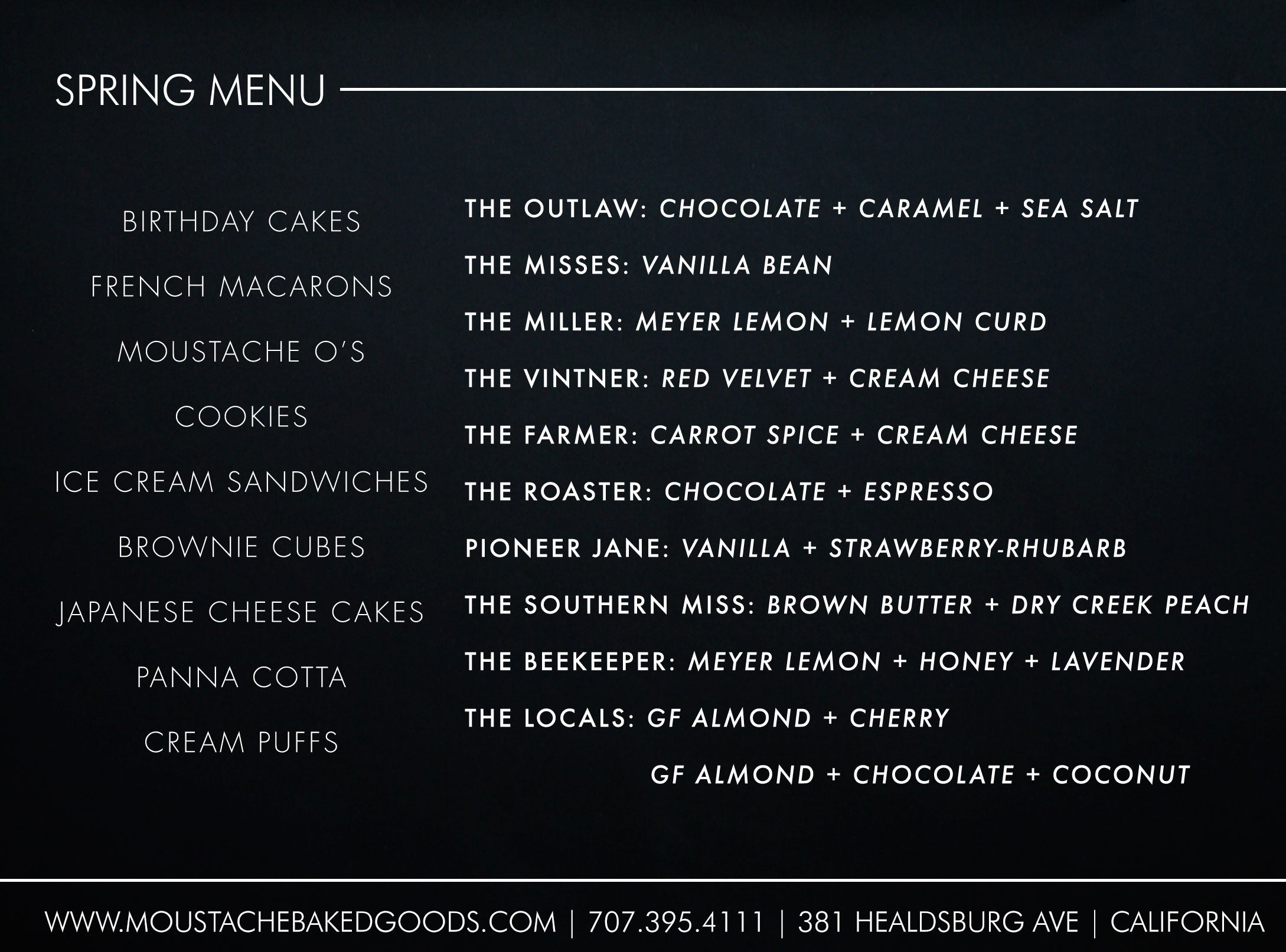 Spring Menu 2015 / Moustache Baked Goods