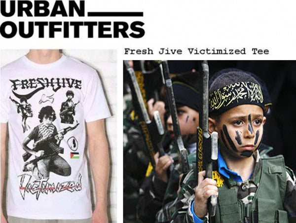 Urban Outfitters' 'Fresh Jive Victimized Tee', 2008, juxtaposed with a real Palestinian child soldier