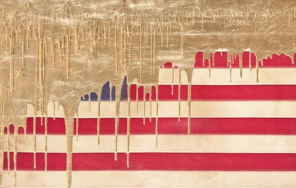 Andrew Schoultz,'Gold Dripping American Flag', 2013