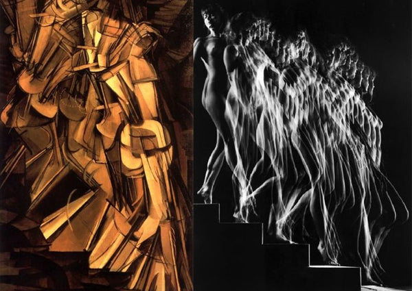 Left: Nude Descending a Staircase no.2 - 1912. Right: Marcel Duchamp emanates his famous painting in LIFE Magazine
