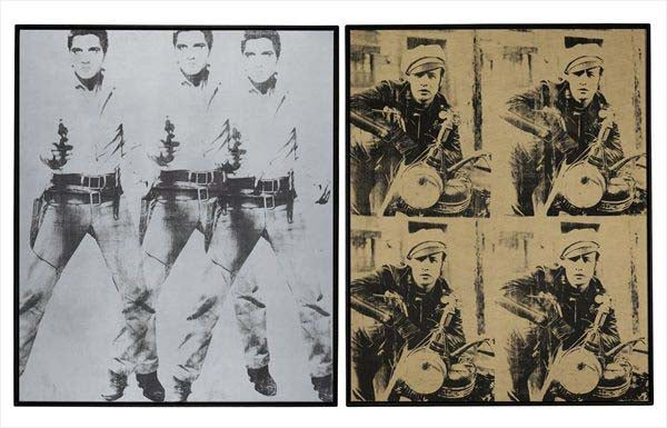 "Andy Warhol portraits, ""Triple Elvis,""1963  left, and ""Four Marlons"""