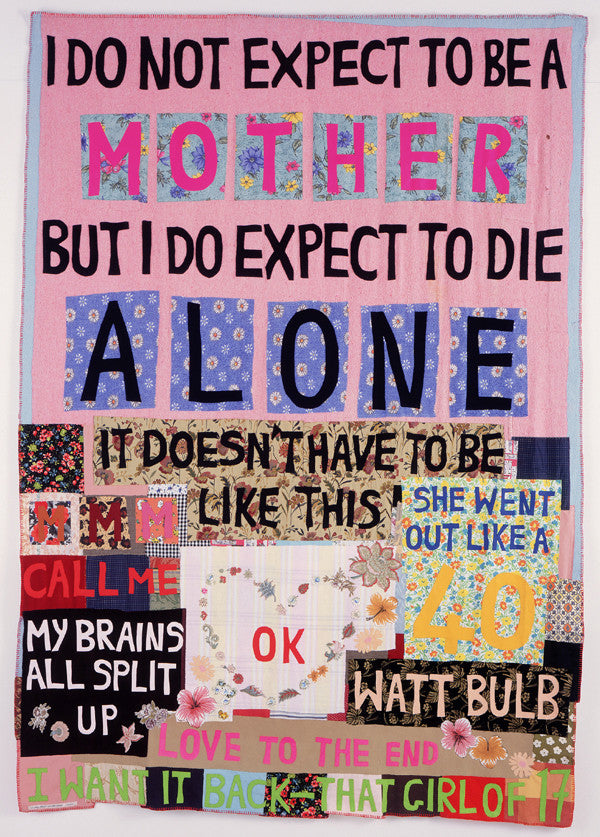 "Tracey Emin_White Cube_exhibition_2014_art_tapestry_review_article_Kids of Dada  Tracey Emin, ""I do Not Expect To be a Mother"" (Tapestry), 2002"