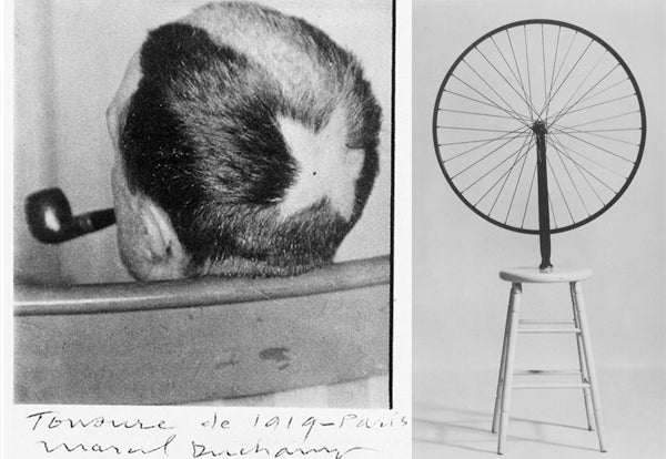 Right: In 1919, Duchamp had a comet shape shaved into his hair, a gesture pre-empting the body art movement of the later 20th century. Left: Marcel Duchamp, Bicycle Wheel - 1913