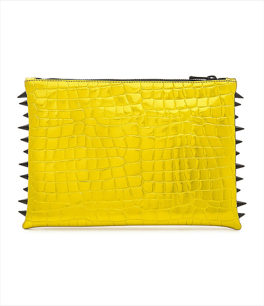 CMPLTUNKNWN_clutch_accessory_Italian_vegan_leather_metallic_yellow_crocodile_spikes_zip_golden_logo_edgy_fashion_kidsofdada