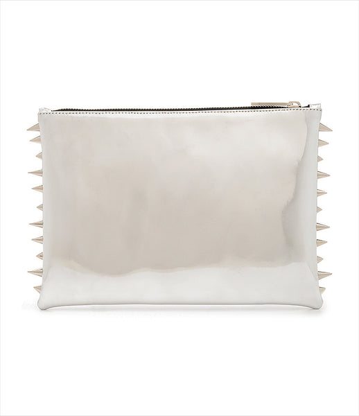 CMPLTUNKNWN_clutch_accessory_Italian_vegan_leather_metallic_silver_spikes_zip_silver_logo_edgy_fashion_kidsofdada