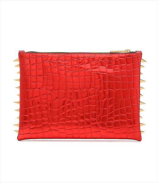 CMPLTUNKNWN_clutch_accessory_Italian_vegan_leather_metallic_red_crocodile_spikes_zip_golden_logo_edgy_fashion_kidsofdada