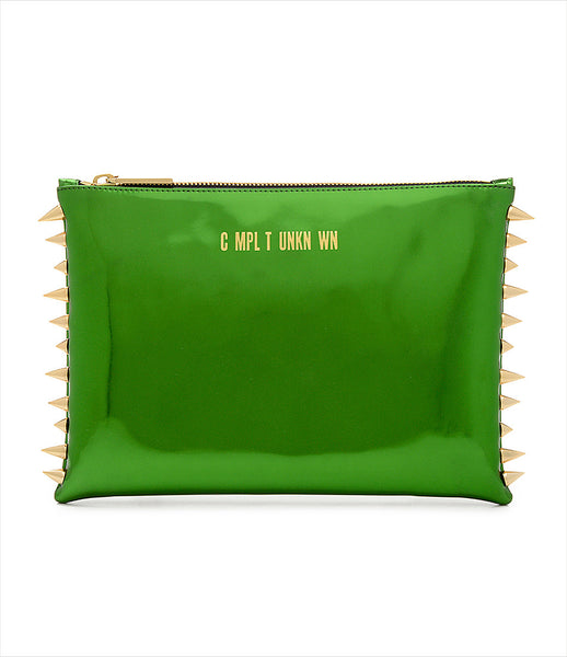 CMPLTUNKNWN_clutch_accessory_Italian_vegan_leather_metallic_green_spikes_zip_golden_logo_edgy_fashion_kidsofdada
